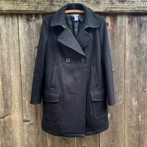 GAP Maternity Black Wool Button Up Peacoat!